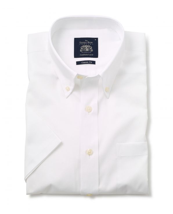 White Classic Fit Short Sleeve Oxford Shirt - 1354WHTMSS - Small Image 280x344px
