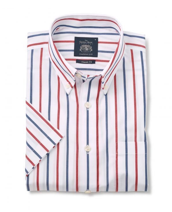White Navy Red Stripe Classic Fit Short Sleeve Shirt - 1352NARMSS - Small Image 280x344px