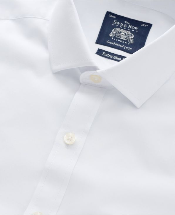 White Poplin Extra Slim Fit Shirt - Single Cuff - 1345WHT - Small Image 280x344px
