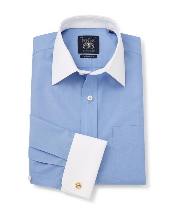 Blue Poplin Classic Fit Non-Iron Shirt With White Collar & Cuffs - Double Cuff