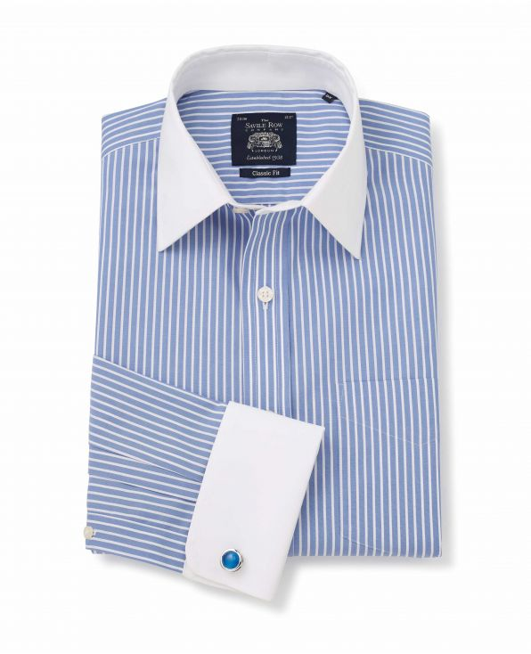 Blue White Stripe Classic Fit Non-Iron Shirt With White Collar & Cuffs - Double Cuff