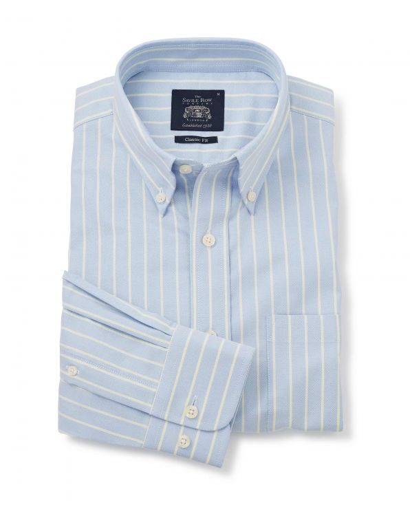 Blue Yellow Stripe Classic Fit Casual Button-Down Shirt