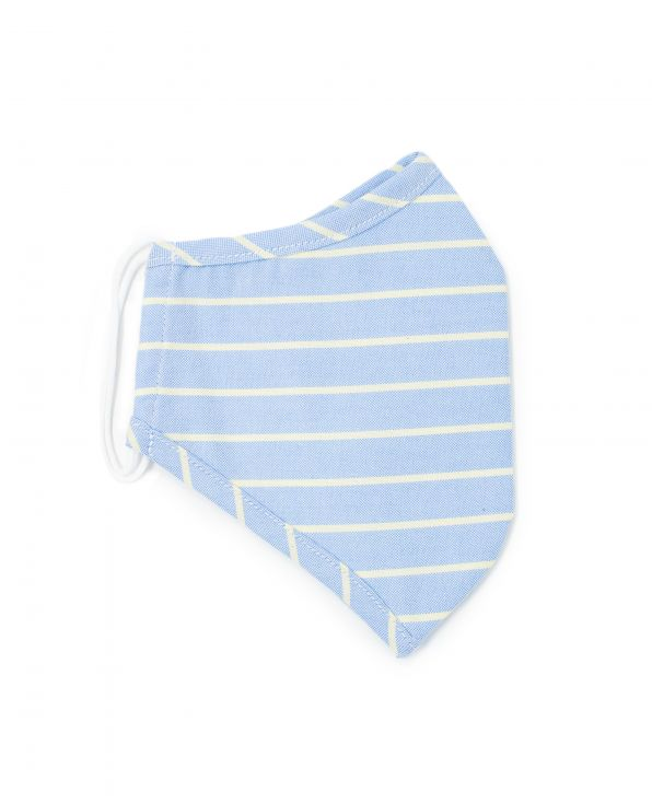 Blue Yellow Stripe Oxford Cotton Face Mask - MSK1386BLY