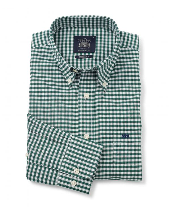 Green Gingham Check Classic Fit Button-Down Oxford Shirt