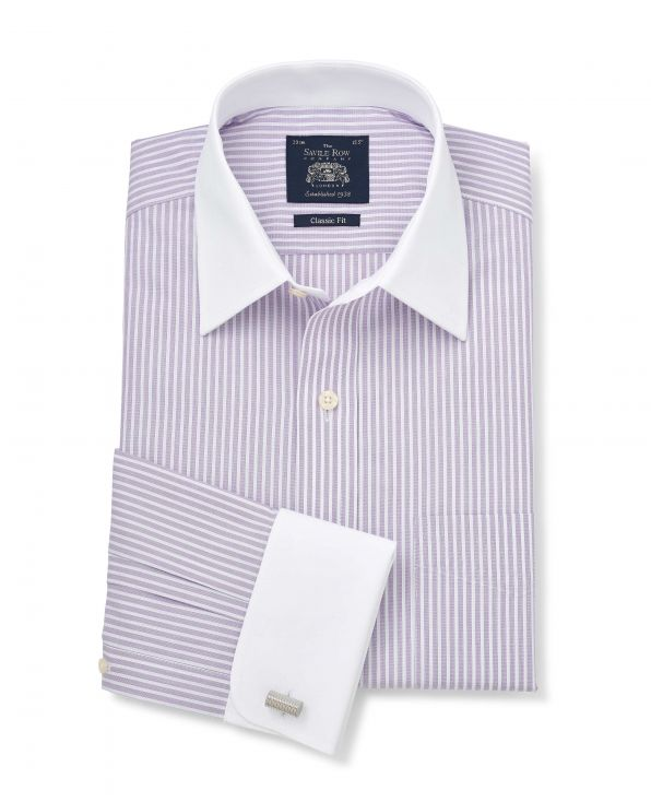 Lilac Textured Stripe Classic Fit Shirt - Double Cuff - 1350PRW