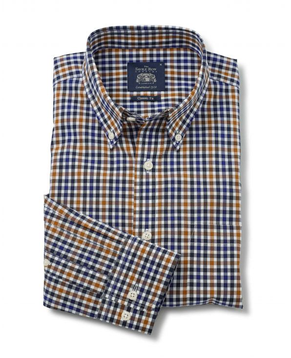 Multi Check Classic Fit Button-Down Shirt - 1388NAB