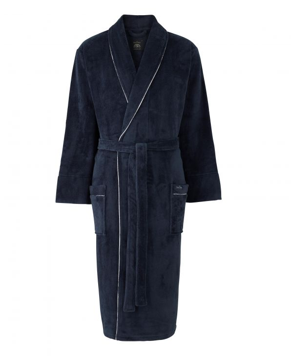 Navy Fleece Dressing Gown With Piping - MDG994NAV