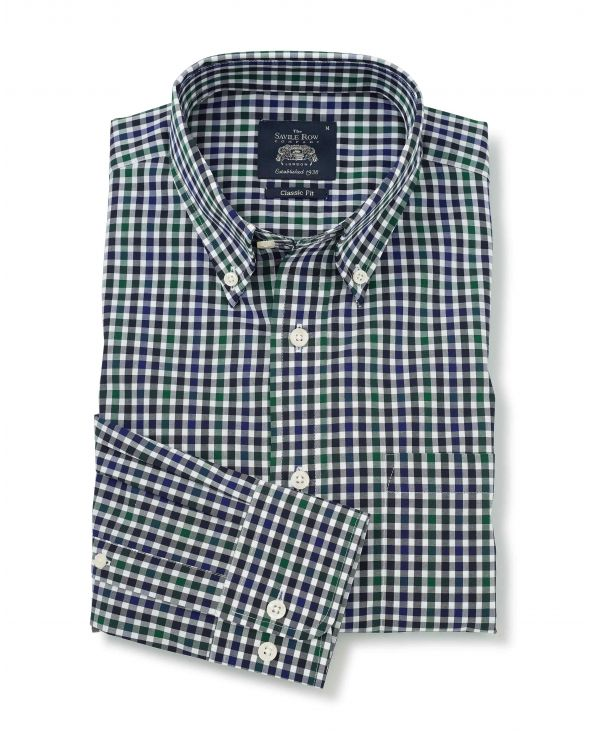 Navy Green White Check Button-Down Shirt
