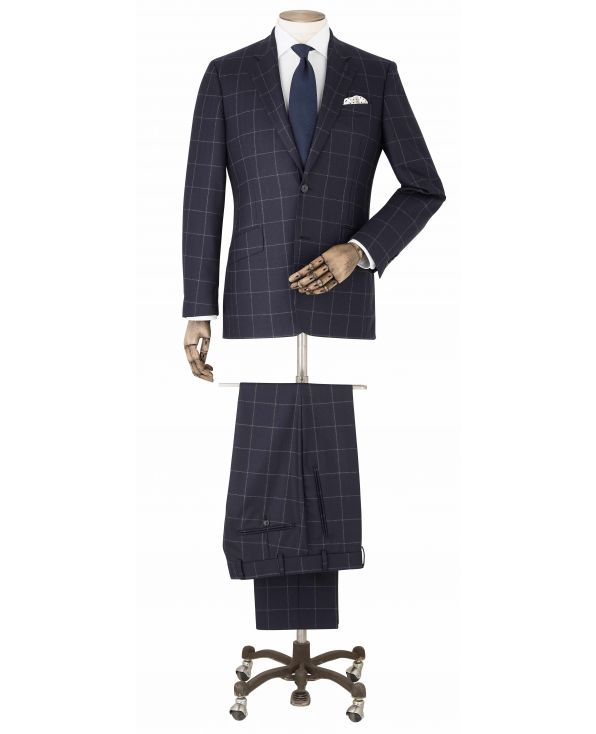 Navy Grey Check Wool Suit - MSUIT358NAV - Small Image 280x344px