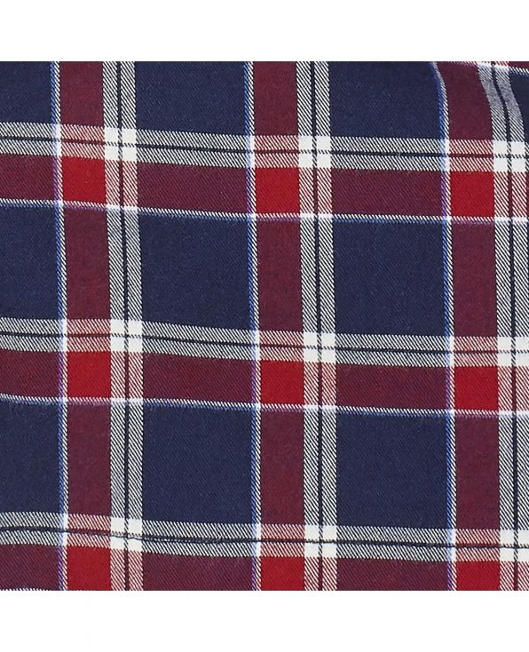 Navy Red Check Brushed Cotton Lounge Pants