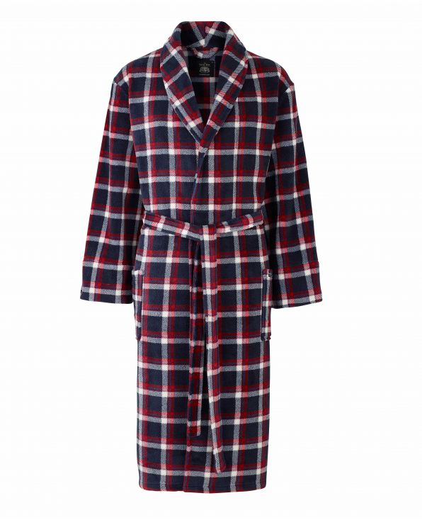 Navy Red Check Fleece Dressing Gown - MDG998NAB