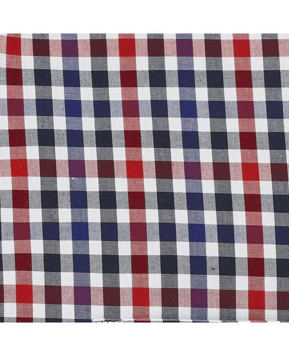 Navy Red White Check Button-Down Shirt