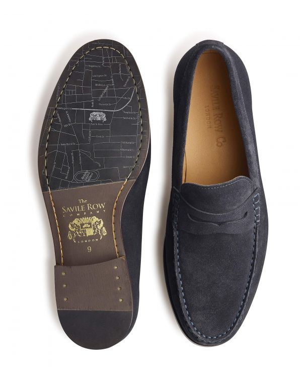 Navy Suede Loafers - MSH771NAV - Small Image 280x344px