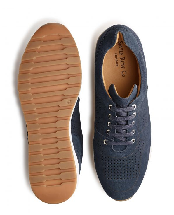 Navy Suede Sports Trainers - MSH775NAV - Small Image 280x344px