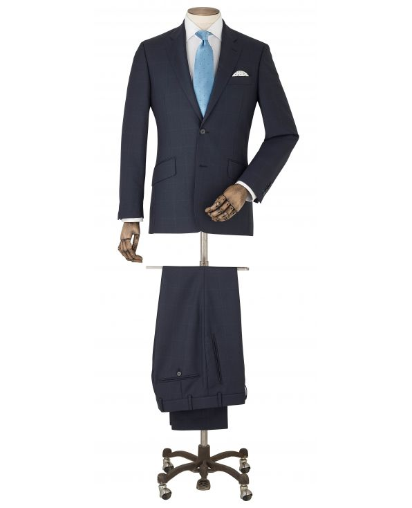 Navy Tonal Check Wool Suit - MSUIT357NAV - Small Image 280x344px