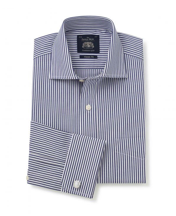 Navy White Bengal Stripe Classic Fit Shirt - Double Cuff