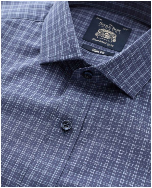 Navy White Check Slim Fit Shirt - Single Cuff