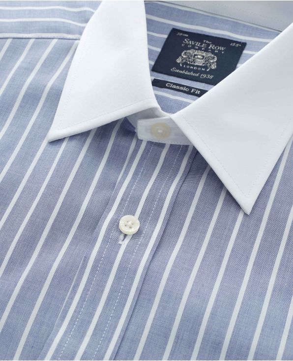 Navy White Stripe End on End Classic Fit Shirt With White Collar & Cuffs - Double Cuff - 1365NAW