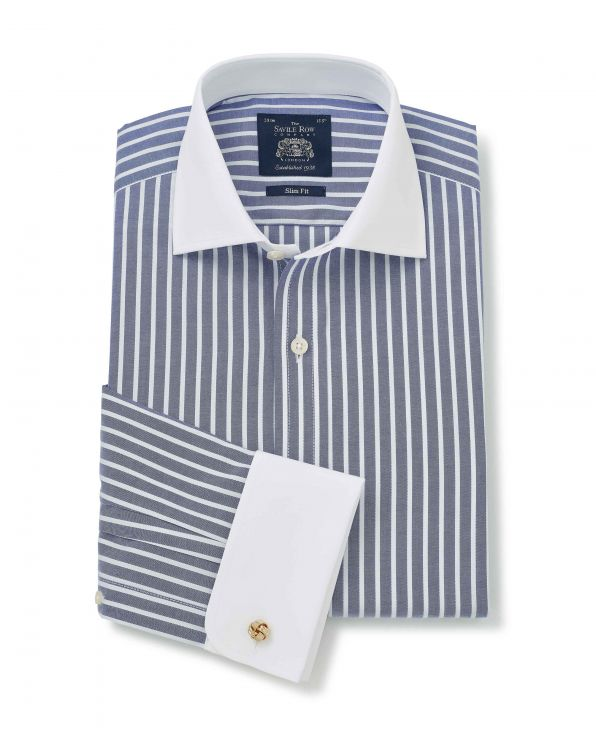 Navy White Striped Slim Fit Shirt With White Collar & Cuffs - Double Cuff - 1380NAW