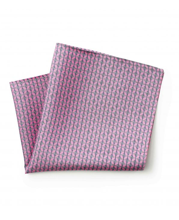Pink Navy Chain Link Print Silk Pocket Square