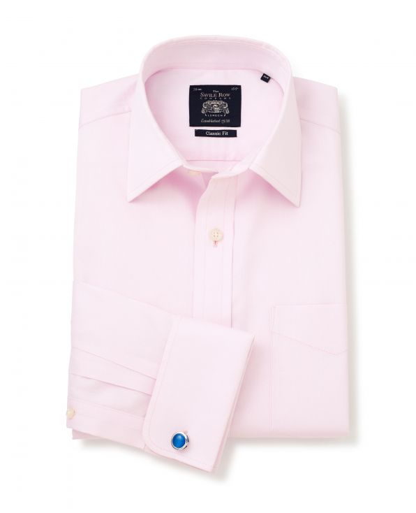 Pink Twill Classic Fit Non-Iron Shirt - Double Cuff