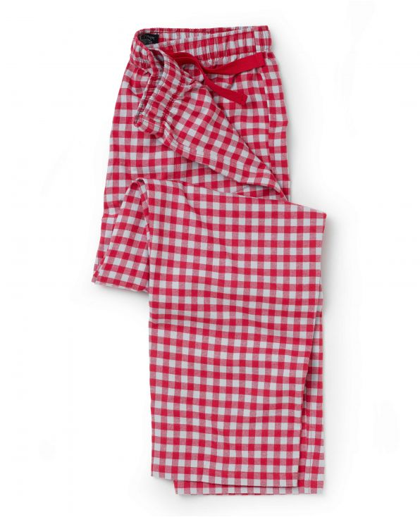 Red Grey Check Brushed Cotton Lounge Pants
