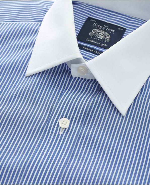 Royal Blue White Stripe Classic Fit Shirt With White Collar & Cuffs - Double Cuff - 1378ROW