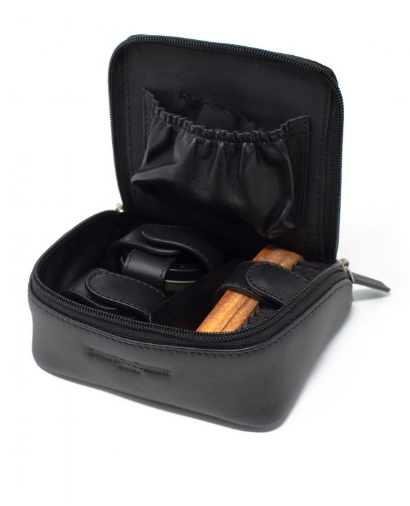 Shoe Cleaning Kit In Black Leather Bag