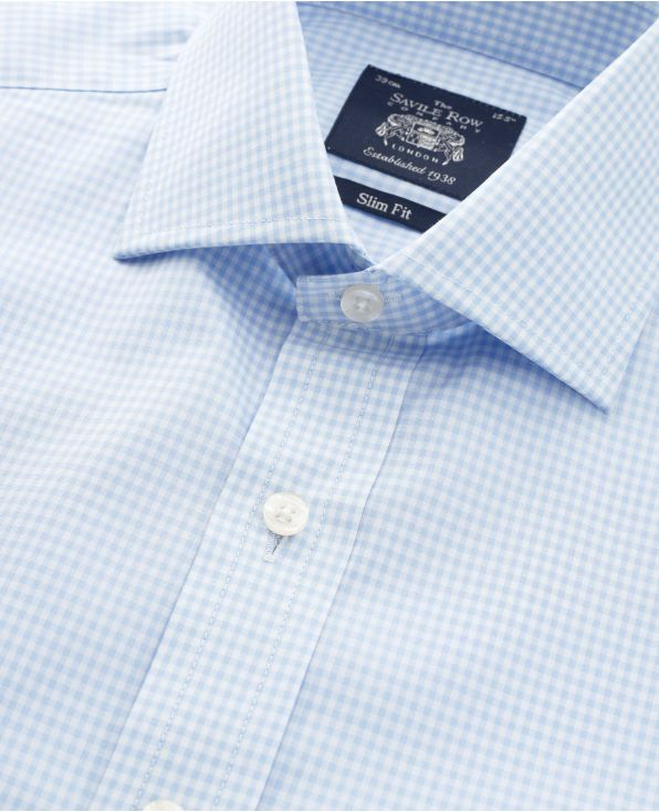 Sky Blue Gingham Check Slim Fit Shirt - Single Cuff - With Tie On - 1361SKY