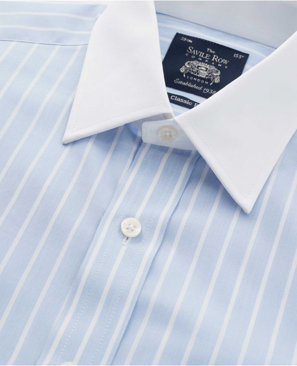 Sky Blue Reverse Stripe Classic Fit Shirt With White Collar & Cuffs