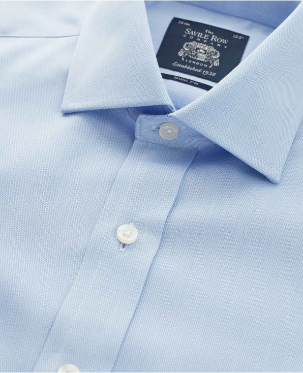 Sky Blue Textured Cotton Slim Fit Shirt - Double Cuff