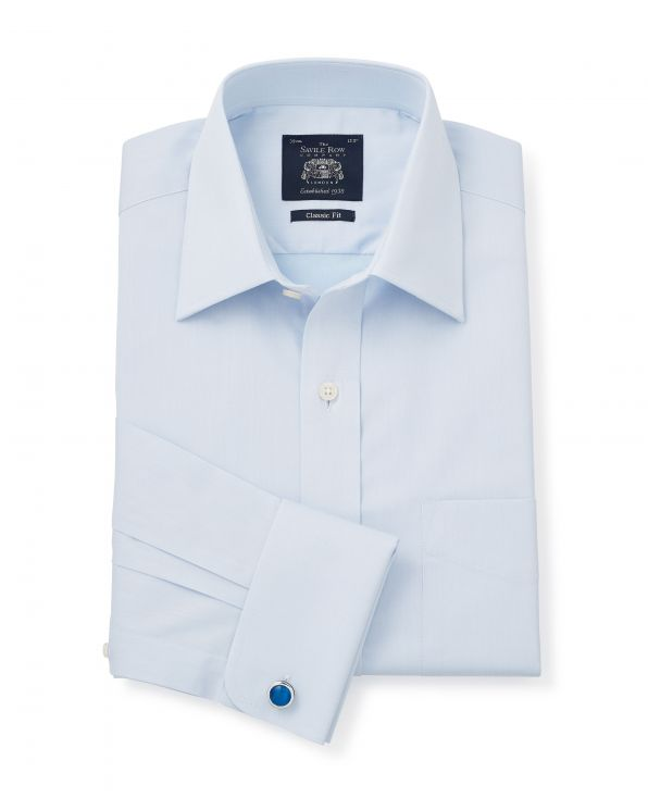Sky Blue Twill Classic Fit Shirt - Double Cuff