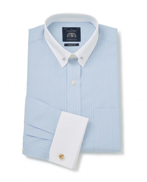 Sky Blue White Stripe Classic Fit Pin Collar Shirt With White Collar & Cuffs - Double Cuff