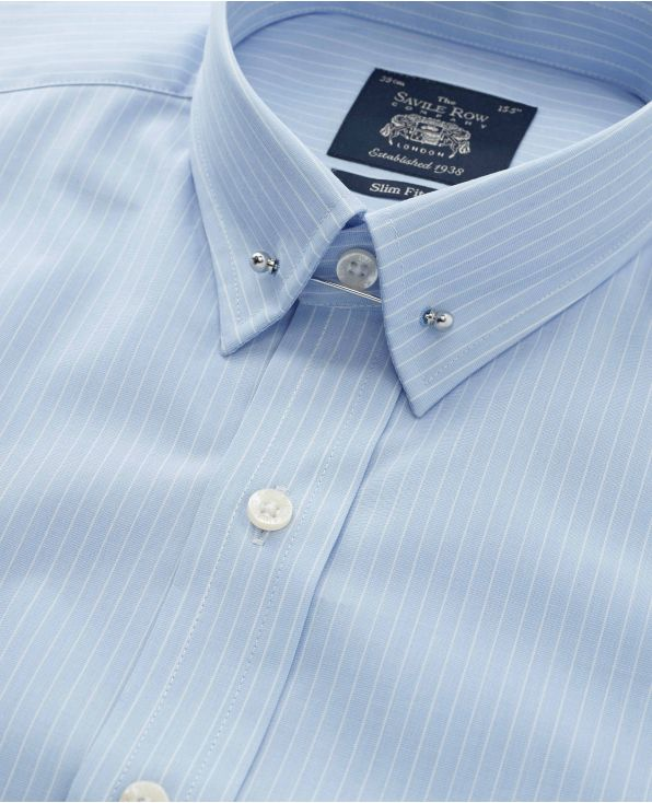 Sky Blue White Stripe Slim Fit Pin Collar Shirt - Double Cuff
