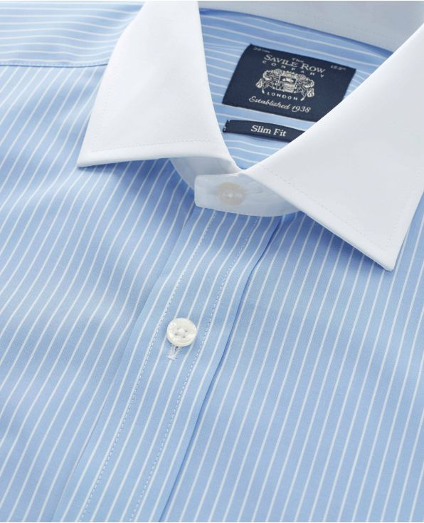 Sky Blue White Stripe Slim Fit Shirt With White Collar & Cuffs - Double Cuff