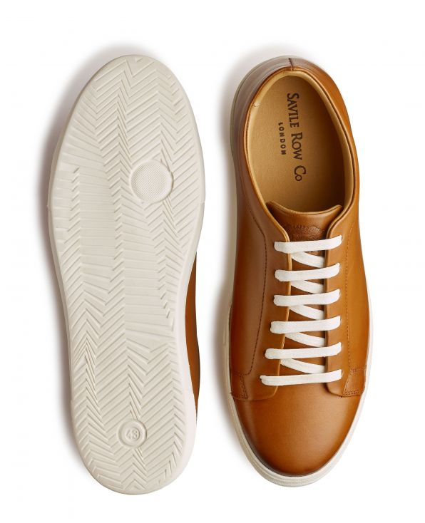Tan Leather Trainers - MSH772TAN - Small Image 280x344px