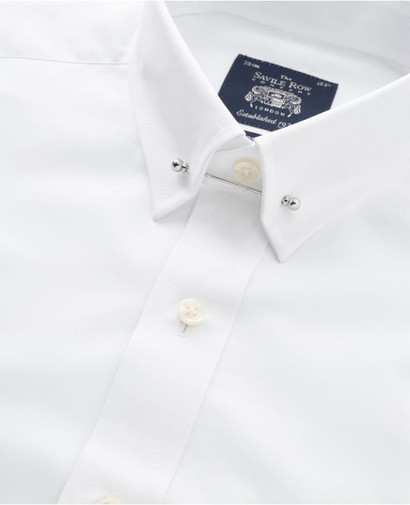 White Classic Fit Pin Collar Shirt - Double Cuff - 1383WHT