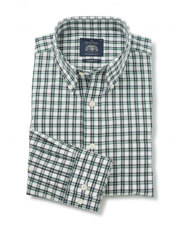 White Green Navy Check Button-Down Shirt