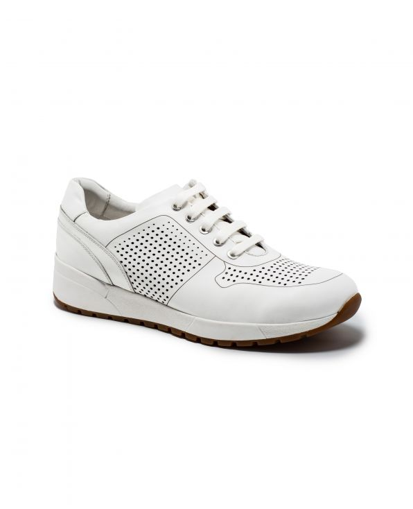 White Leather Sports Trainers - MSH774WHT - Small Image 280x344px