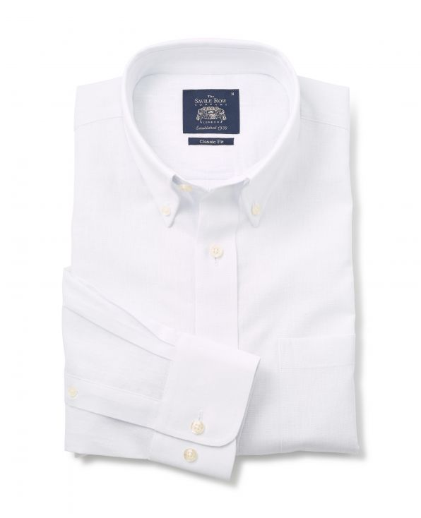 White Linen-Blend Classic Fit Casual Shirt - 1357WHT - Small Image 280x344px