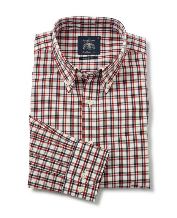 White Navy Red Check Button-Down Shirt