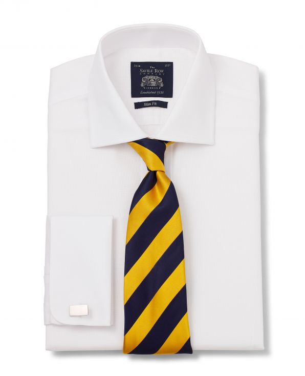 White Panama Cotton Slim Fit Shirt - Double Cuff With Tie - 3001WHT - Large Image