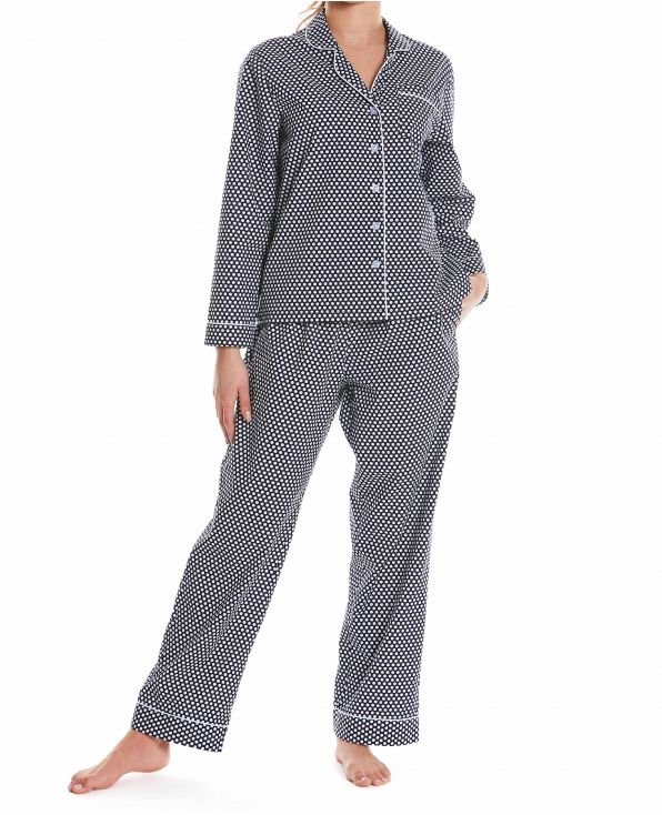 Women's Navy White Spotted Organic Cotton Pyjamas Model Shot - LPJ1000NAW