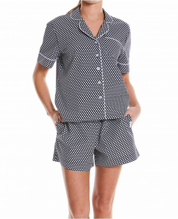Women's Navy White Spotted Pyjama Short Set