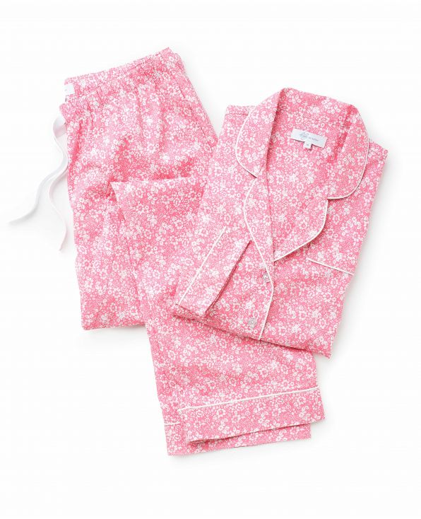 Women's White Pink Flower Print Organic Cotton Pyjama Set Model Shot - LPJ1002PNK