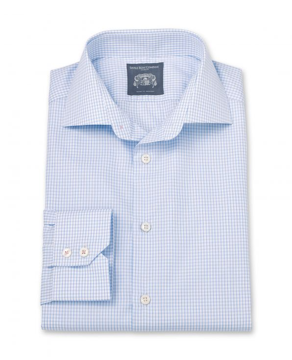 Jack Blue Grid Check Made To Measure Shirt