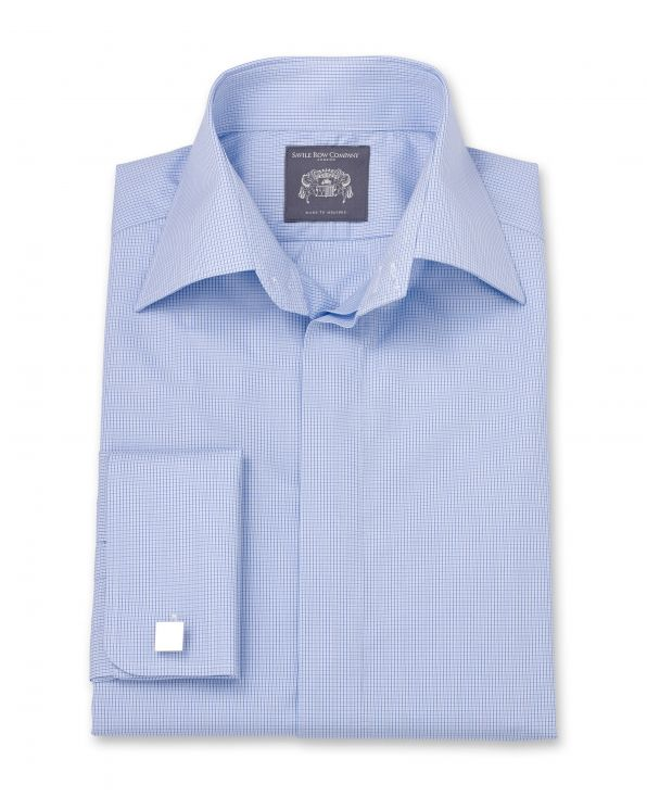 Lewis Blue Fine Check Made To Measure Shirt