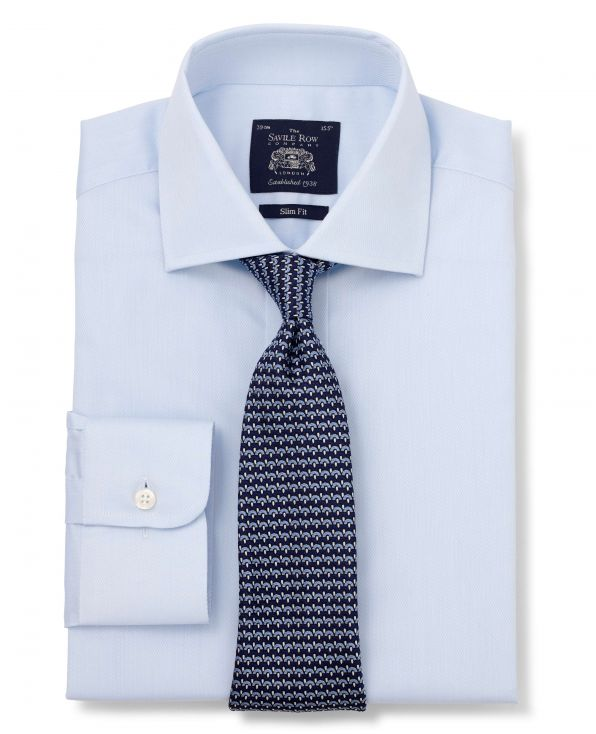 Light Blue Dobby Slim Fit Shirt - Single Cuff Folded Shot