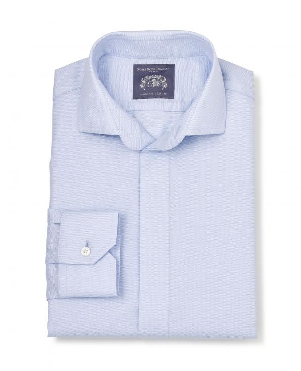 Louis Blue Dobby Made To Measure Shirt - Large Image