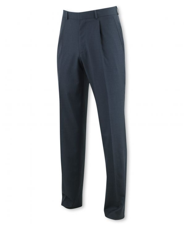 Navy Microdot Classic Fit Pleated Trouser